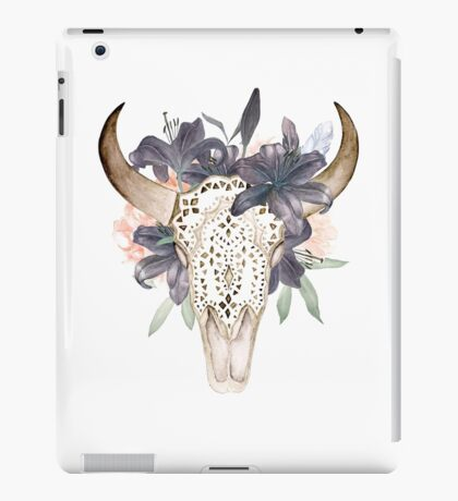 Watercolor skull in flowers iPad Case/Skin