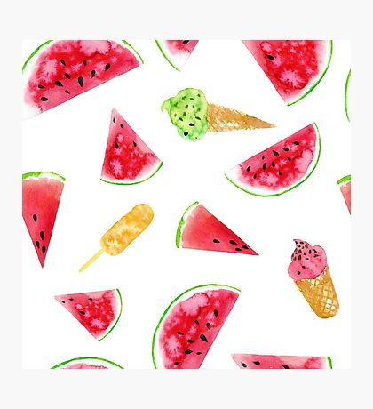 Watercolor watermelon slices and ice-creams Photographic Print