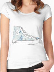 Watercolor Shoe Women's Fitted Scoop T-Shirt