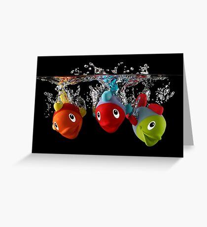 Three Toy Fish With Splash Greeting Card