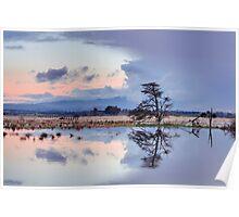 Yarra Glen flats flooding sunset Poster