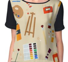 Tools and Materials for Creativity and Painting Seamless Pattern Chiffon Top
