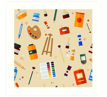 Tools and Materials for Creativity and Painting Seamless Pattern Art Print