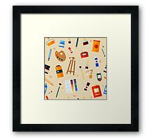 Tools and Materials for Creativity and Painting Seamless Pattern Framed Print