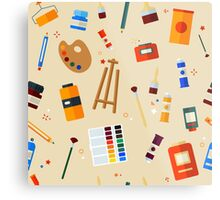 Tools and Materials for Creativity and Painting Seamless Pattern Metal Print