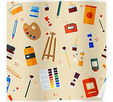 Tools and Materials for Creativity and Painting Seamless Pattern Poster