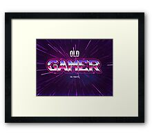 old gamer 80s tribute arcade game Framed Print