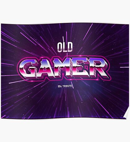 old gamer 80s tribute arcade game Poster