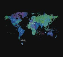 World Map in Watercolor One Piece - Short Sleeve