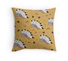 Indian seamless pattern. Background in the style of boho with Native American headdresses Throw Pillow