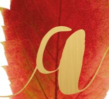 Autumn/Fall Leaf Initial Monogram A Sticker