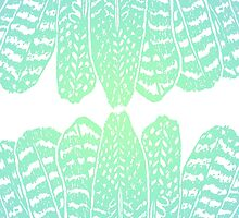 Tribal Feathers Seafoam by daisy-beatrice