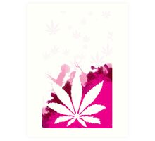 Pink Cannabis Art Print