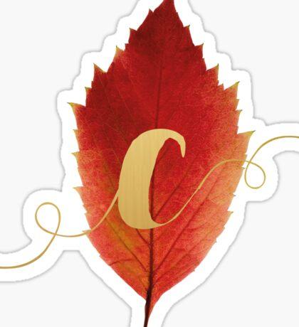 Autumn/Fall Leaf Initial Monogram C Sticker