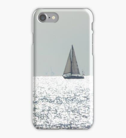 Ship on silver sea iPhone Case/Skin