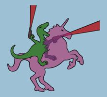 Dinosaur riding Invisible Pink Unicorn by jezkemp