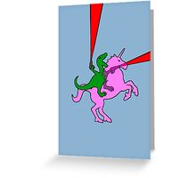 Dinosaur riding Invisible Pink Unicorn Greeting Card