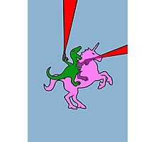 Dinosaur riding Invisible Pink Unicorn Photographic Print