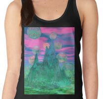 Poetic Mountain at Dawn, Glorious Pink Green Sky Women's Tank Top