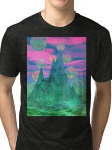 Poetic Mountain at Dawn, Glorious Pink Green Sky Tri-blend T-Shirt