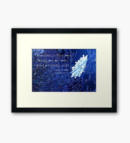 snowflake in blue 7 haiku  Framed Print