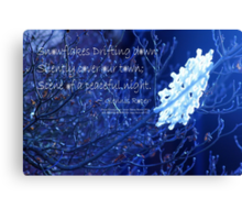 snowflake in blue 7 haiku  Canvas Print