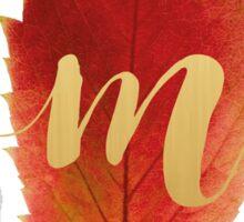 Autumn/Fall Leaf Initial Monogram M Sticker
