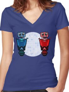 RRDDD Red and Blue Disco Women's Fitted V-Neck T-Shirt
