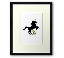 Unicorn Rainbow Pee (black design) Framed Print