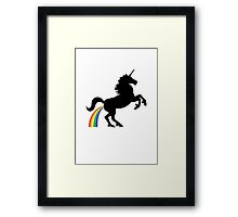 Unicorn Rainbow Poo (black design) Framed Print