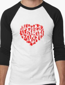 I Love Cartoons Men's Baseball ¾ T-Shirt