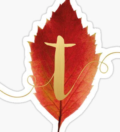 Autumn/Fall Leaf Initial Monogram T Sticker