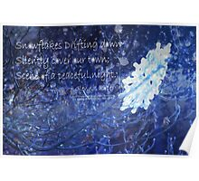 snowflake in blue 7 haiku with texture Poster