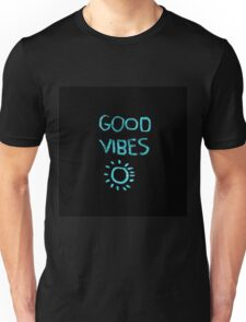 "Turqouise,cool text,typography,""Good vibes"",trendy,modern Unisex T-Shirt"