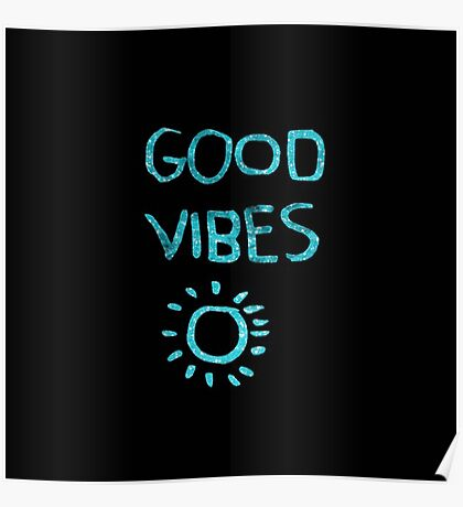 """Turqouise,cool text,typography,""""Good vibes"""",trendy,modern Poster"""