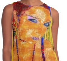 Women, abstract, yellow, red and blue contrast art Contrast Tank