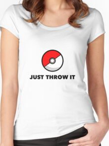 Pokemon Go Pokeballs - Just Throw It Women's Fitted Scoop T-Shirt
