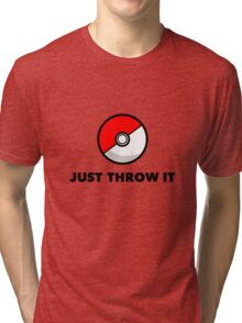 Pokemon Go Pokeballs - Just Throw It Tri-blend T-Shirt