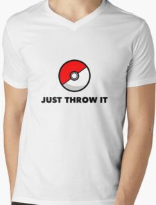 Pokemon Go Pokeballs - Just Throw It Mens V-Neck T-Shirt