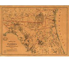 Vintage Map of Northern Florida (1864) Photographic Print