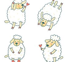 Four cute funny sheep by sky-lantern