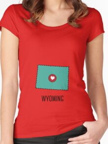 Wyoming State Heart Women's Fitted Scoop T-Shirt