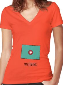 Wyoming State Heart Women's Fitted V-Neck T-Shirt