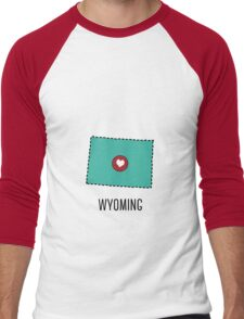 Wyoming State Heart Men's Baseball ¾ T-Shirt