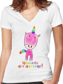 Unicorns are awesome Women's Fitted V-Neck T-Shirt