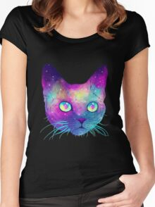 Cat Galaxy Women's Fitted Scoop T-Shirt