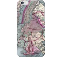Vintage Map of The NYC Metro Area (1880) iPhone Case/Skin