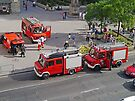 Firemen at work, Budapest, Hungary. by Margaret  Hyde