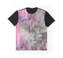 Hot Pink Purple and Black Dripping Abstract Graphic T-Shirt