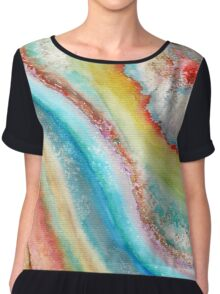 AGATE Inspired Watercolor Abstract 01 Chiffon Top